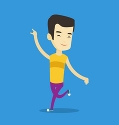 Cheerful asian man dancer dancing vector