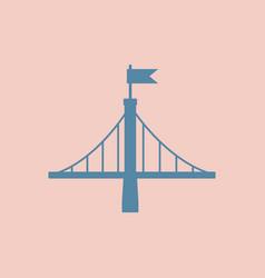 metal bridge with flag vector image