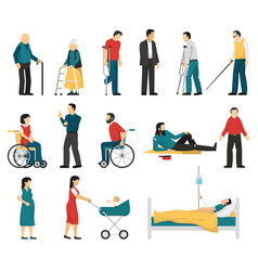 disabled people set vector image