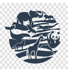 icon animal silhouettes black vector image