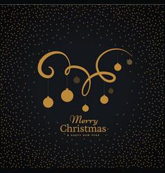 Hanging christmas balls on swirl decoration vector