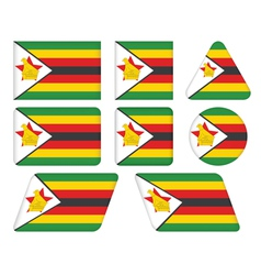 Buttons with flag of zimbabwe vector