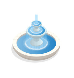 Beautiful three-level round fountain a zone of vector