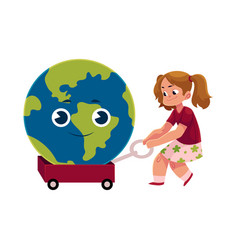 girl pulling cart with globe earth character vector image