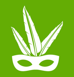 Carnival mask icon green vector