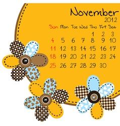 2012 november calendar vector image vector image
