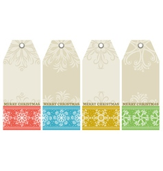 Christmas labels with snowflakes and wishes text vector