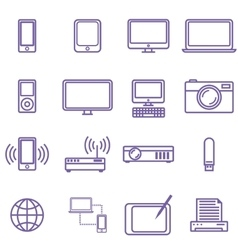Gadgets and technology icons set linear style vector