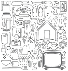 Doodle household drawing vector