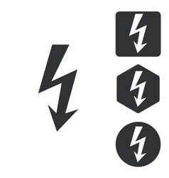 Voltage icon set monochrome vector