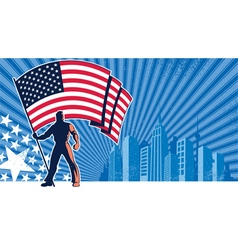 Flag bearer usa background vector