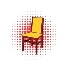 Classic wooden chair comic icon vector