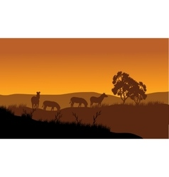 Zebra silhouette in the hills vector