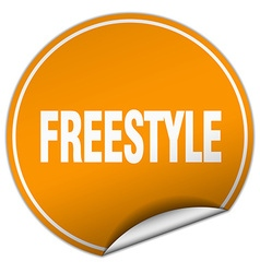 Freestyle round orange sticker isolated on white vector