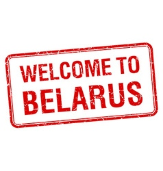 Welcome to belarus red grunge square stamp vector