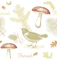 Vintage birds forest pattern background vector