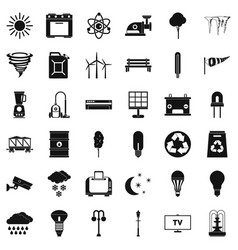 Agriculture windmill icons set simple style vector