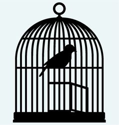 An open birdcage and bird vector image vector image