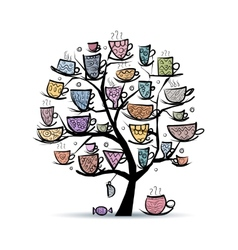 Art tree with mugs and cups Sketch for your vector image vector image