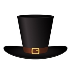 Black hat with a gold buckle on white background vector