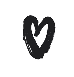 Bold linear drawn black heart symbol vector