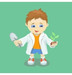 Boy doing biological experiments young scientist vector