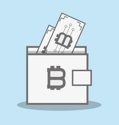 Color wallet icon and bitcoin money currency vector