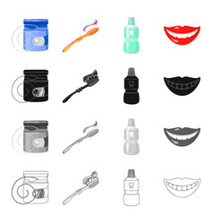 Dental floss toothbrush for care tooth elixir vector
