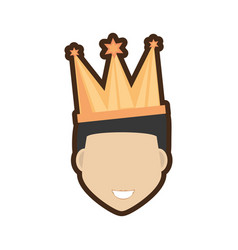 face man smile with crown vector image vector image
