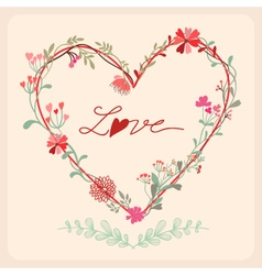 Floral heart card vector image