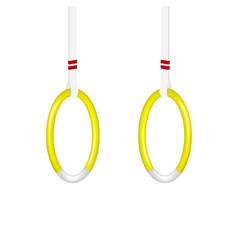 gymnastic rings in yellow and white design vector image vector image