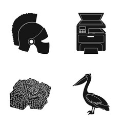 Helmet printer and other web icon in black style vector
