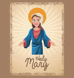 Holy mary religion card vector