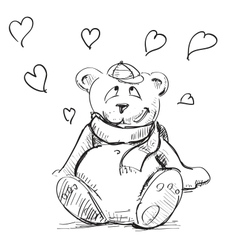 In love cute teddy bear vector image vector image