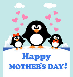 Mothers day background card with penguins vector