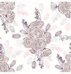 romantic hand drawn seamless pattern with flowers vector image vector image