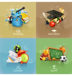 School concepts set vector image vector image