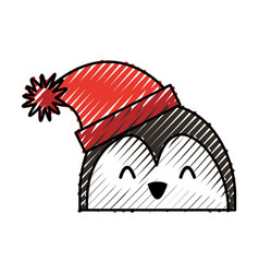 Scribble christmas penguin face cartoon vector