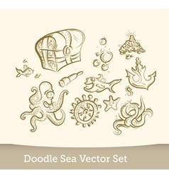 Sea doodle set isolated on white background vector
