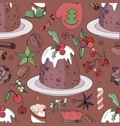 Seamless pattern with christmas pudding and vector