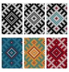 Set of Baltic knitting seamless patterns vector image vector image