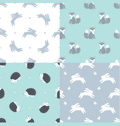 set of forest animals seamless patterns vector image