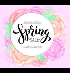 Spring sale with background pink peonies vector