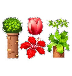 Sticker set of flowers and bush vector