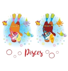 The signs of the zodiac guinea pig pisces vector
