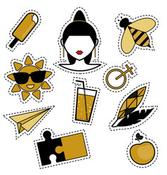 Trendy fashionable pins patches badges stickers vector
