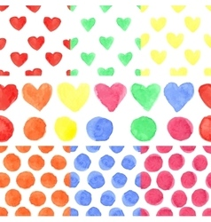 Watercolor colored heartpolka dotbaby seamless vector