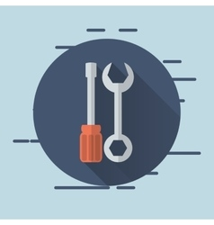 Wrench and screwdriver icons image vector