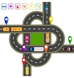 Road infographics noted on various objects map vector