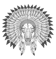 Buffalo skull sketch with feather headdress vector